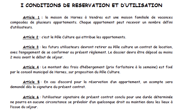 Conditions de réservation