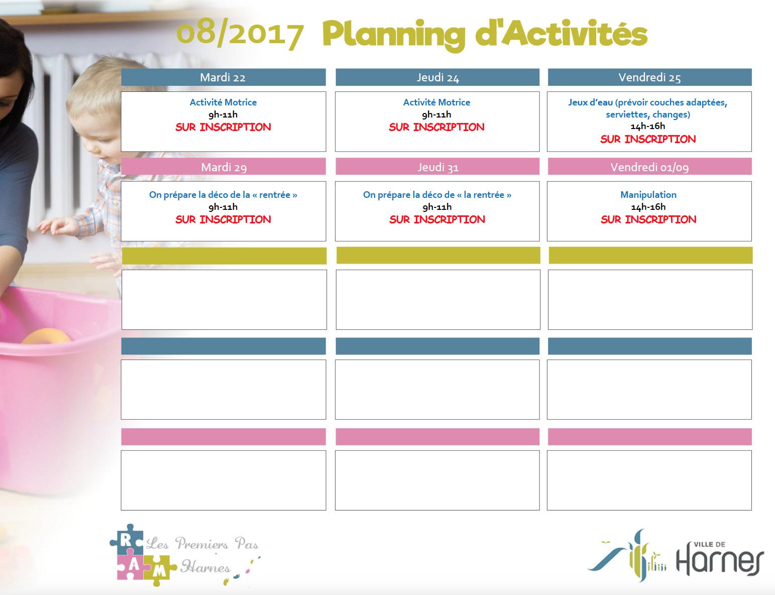 Plannings d'activités mensuels
