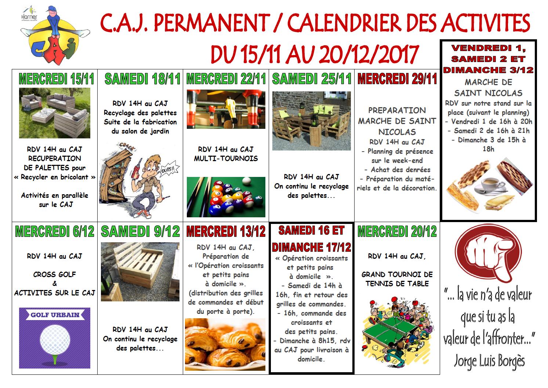Planning du CAJ permanent