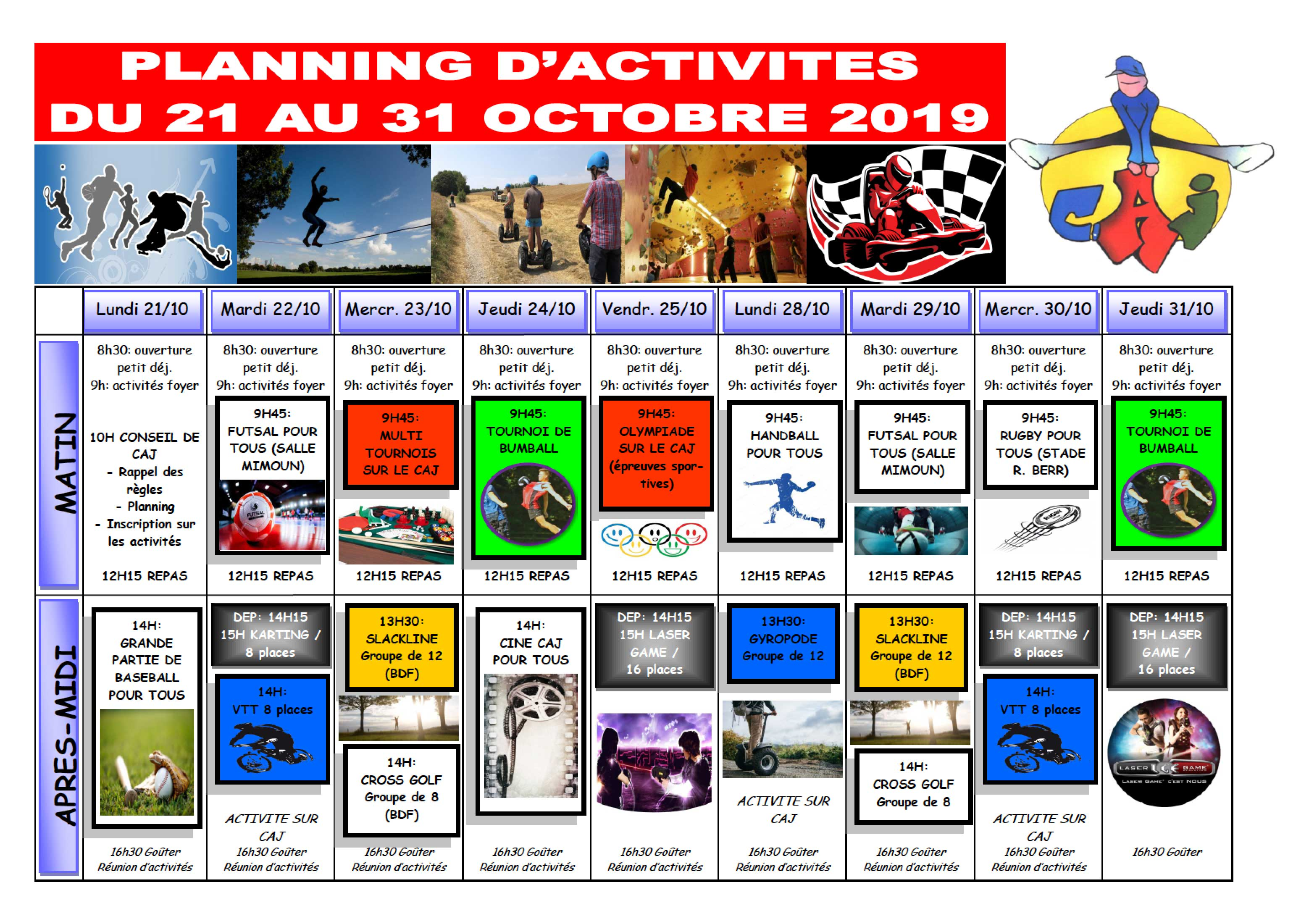 Planning d'activités CAJ du 21 au 31/10