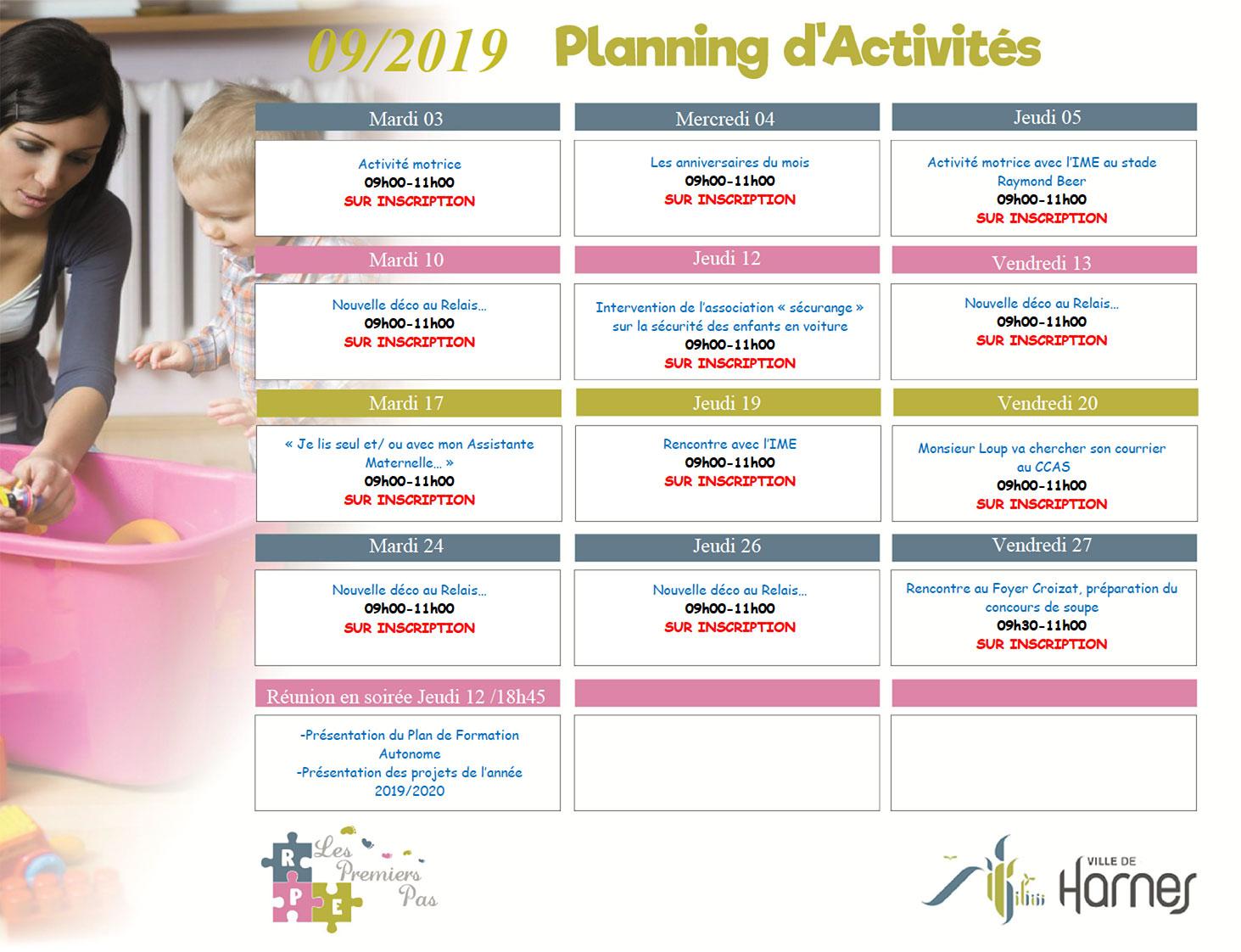 Planning d'activités mensuelles