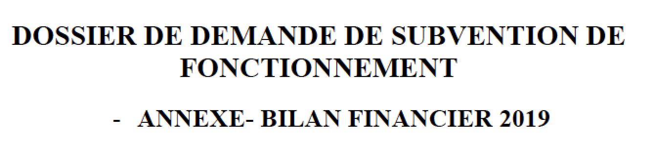 Bilan financier 2019