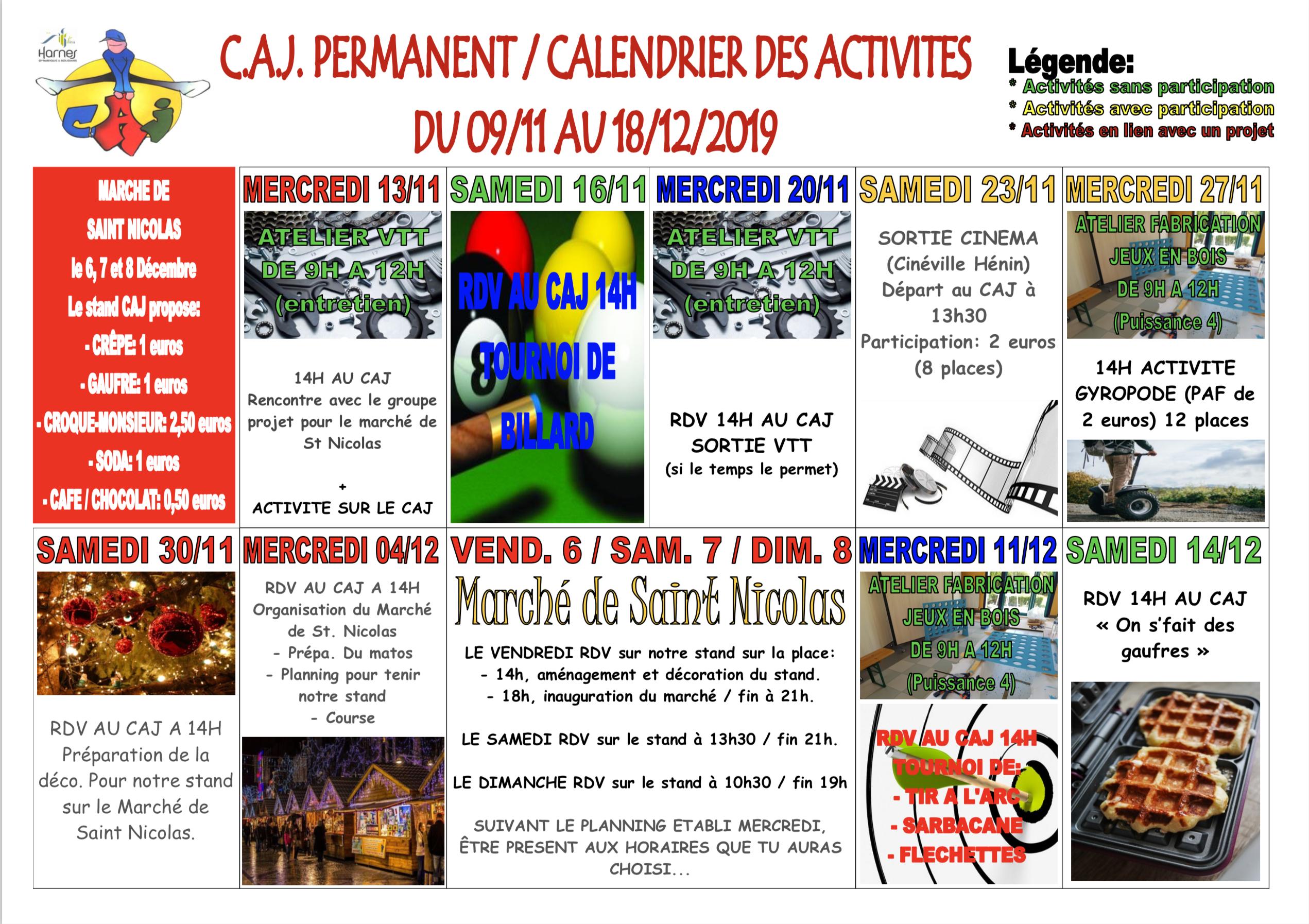 Planning d'activités CAJ du 09/11 au 18/12